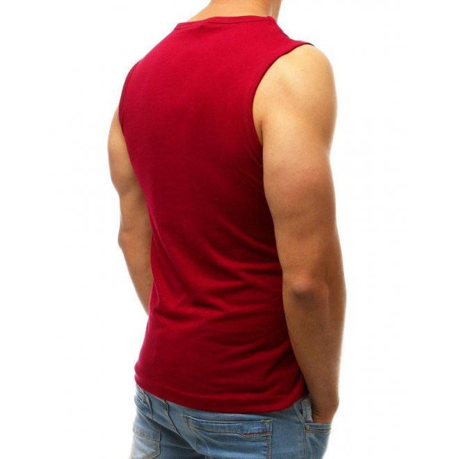 Štýlové pánske tričko bordovej farby s potlačou