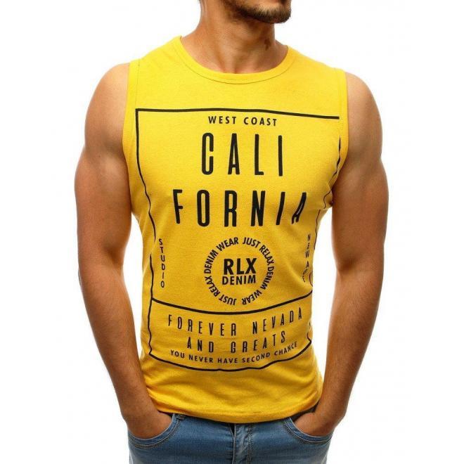 Pánske štýlové tričko s potlačou v žltej farbe
