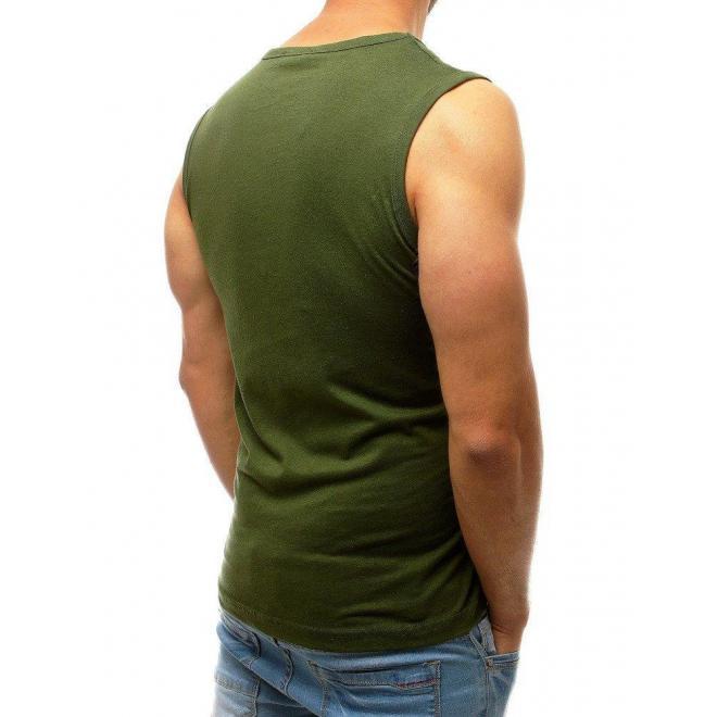 Pánske módne tričko s potlačou v kaki farbe