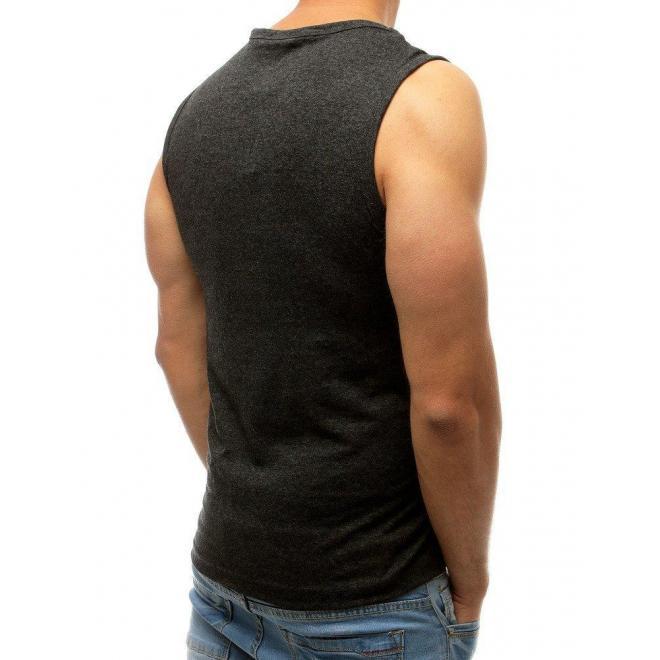 Pánske módne tričko s potlačou v tmavosivej farbe