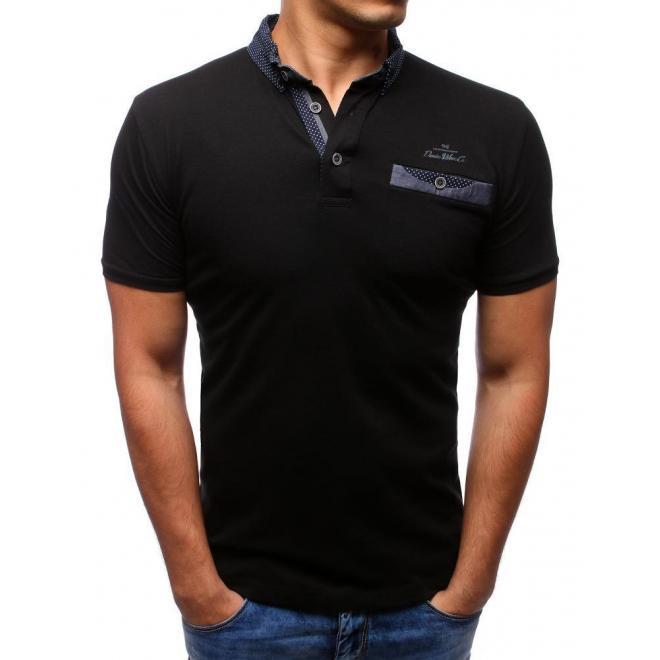 Pánska bavlnená polokošeľa v čiernej farbe