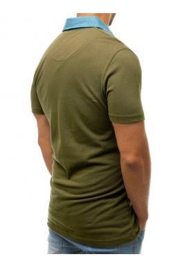 Zelená módna polokošeľa s vreckom na hrudi pre pánov