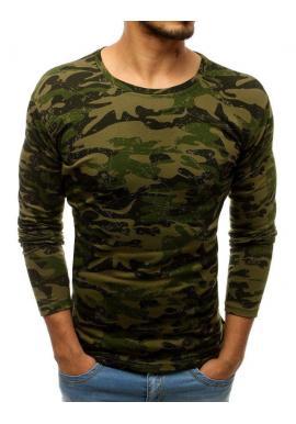 Zelené maskáčové tričko s dlhým rukávom pre pánov