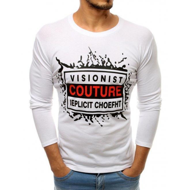 Pánske módne tričko s potlačou v bielej farbe