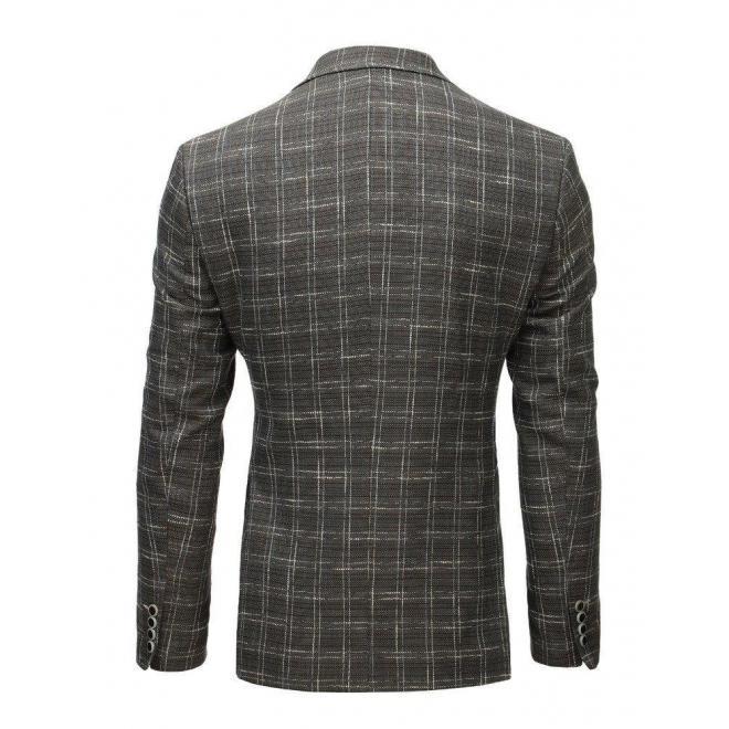 Tmavosivé neformálne sako s kockovaným vzorom pre pánov
