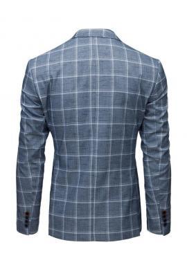 Pánske jednoradové sako s kockovaným vzorom v modrej farbe