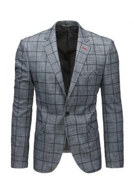 Neformálne pánske sako tmavosivej farby s kockovaným vzorom