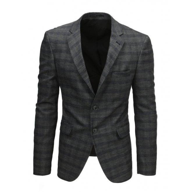 Tmavosivé jednoradové sako s kockovaným vzorom pre pánov