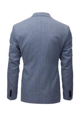Pánske neformálne sako s pásikavým vzorom v modrej farbe