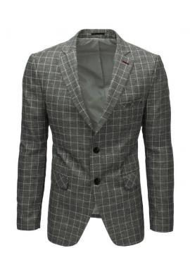 Jednoradové pánske sako sivej farby s kockovaným vzorom