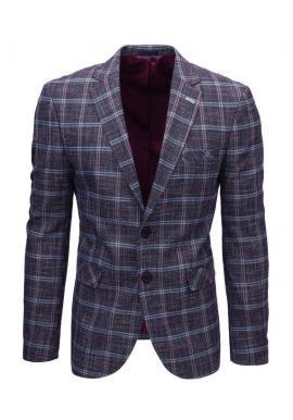 Bordové neformálne sako s kockovaným vzorom pre pánov