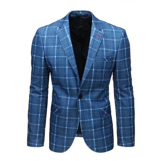 Neformálne pánske sako modrej farby s kockovaným vzorom