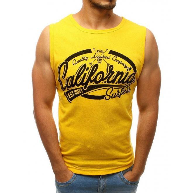 Žlté bavlnené tričko s potlačou pre pánov