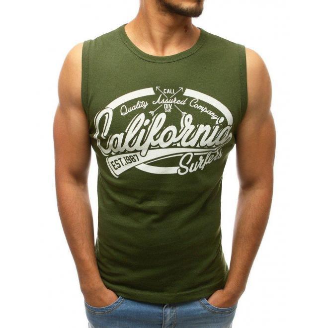 Pánske bavlnené tričko s potlačou v kaki farbe
