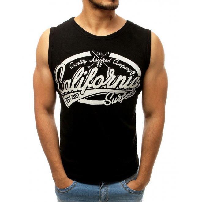 Čierne bavlnené tričko s potlačou pre pánov