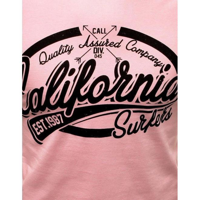 Pánske bavlnené tričko s potlačou v ružovej farbe
