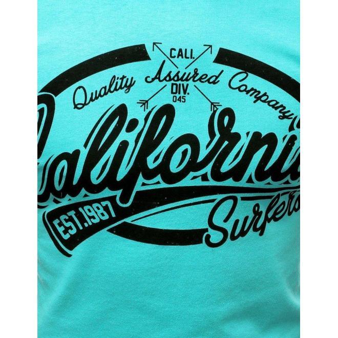 Bavlnené pánske tričko tyrkysovej farby s potlačou