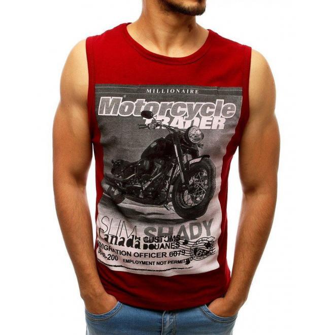 Pánske štýlové tričko s potlačou v bordovej farbe