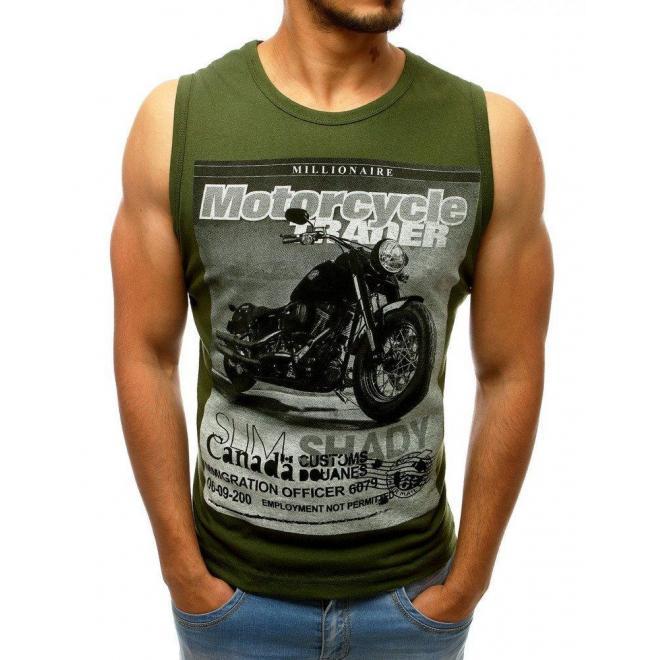Pánske štýlové tričko s potlačou v kaki farbe