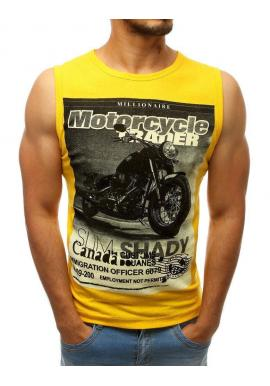 Štýlové pánske tričko žltej farby s potlačou