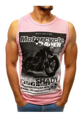 Ružové štýlové tričko s potlačou pre pánov