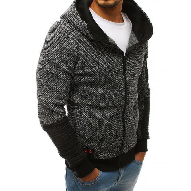 Sivá štýlová mikina s kapucňou pre pánov