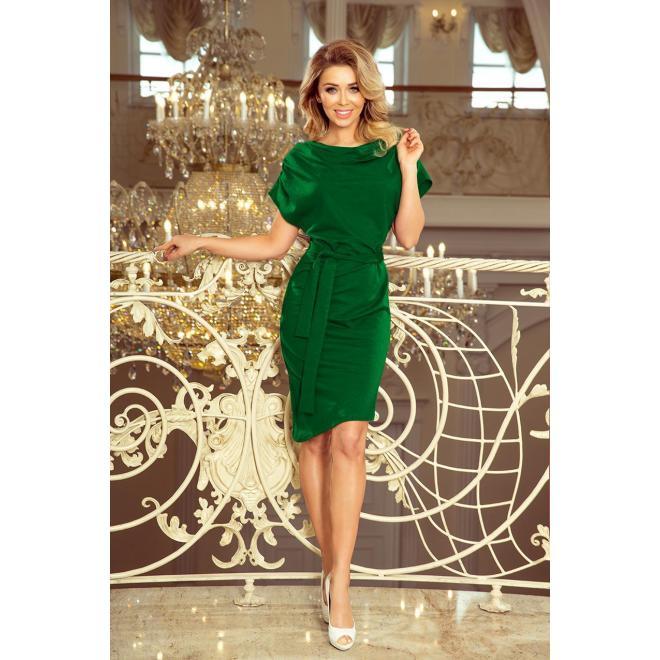 Asymetrické dámske šaty zelenej farby s opaskom