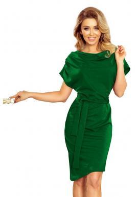 3b44241ca Asymetrické dámske šaty zelenej farby s opaskom ...
