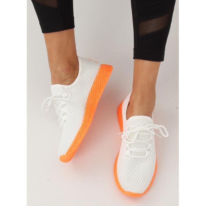Športové dámske tenisky bielo-oranžovej farby so sieťkou