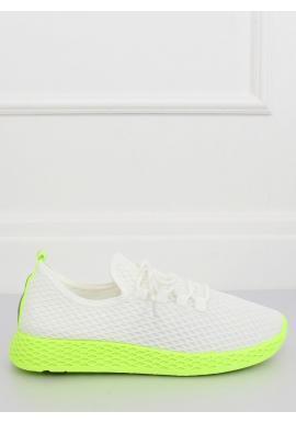 Športové dámske tenisky bielo-žltej farby so sieťkou