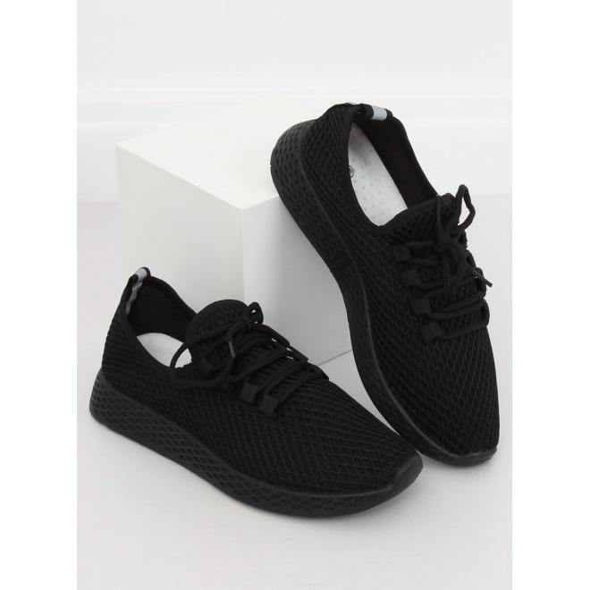 Dámske športové tenisky so sieťkou v čiernej farbe
