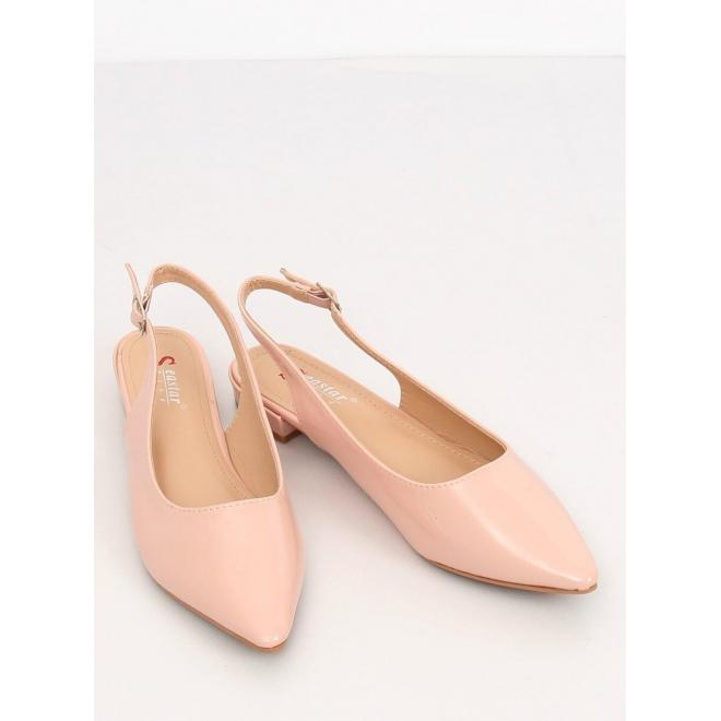 Lakované dámske balerínky ružovej farby s otvorenou pätou