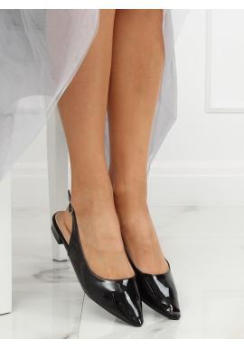 Dámske lakované balerínky s otvorenou pätou v čiernej farbe