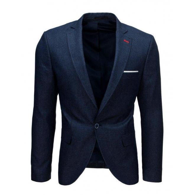 Tmavomodré jednoradové sako s jedným gombíkom pre pánov