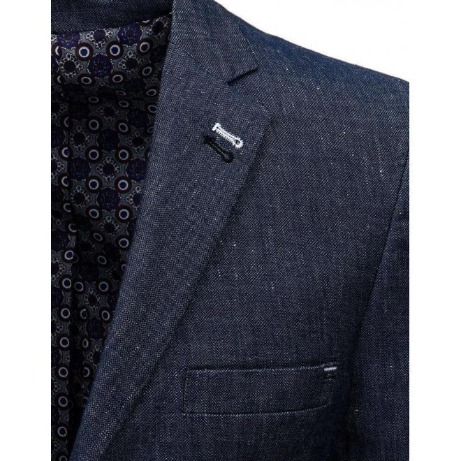 Jednoradové pánske sako tmavomodrej farby s dvomi gombíkmi