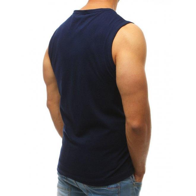 Pánske módne tričko s potlačou v tmavomodrej farbe