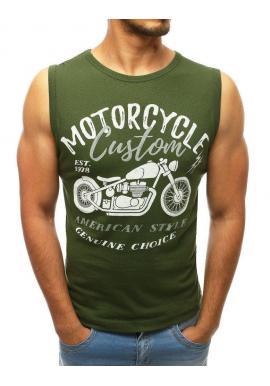 Kaki módne tričko s potlačou pre pánov
