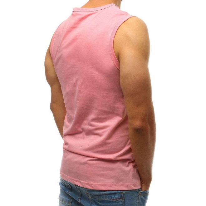 Módne pánske tričko ružovej farby s potlačou