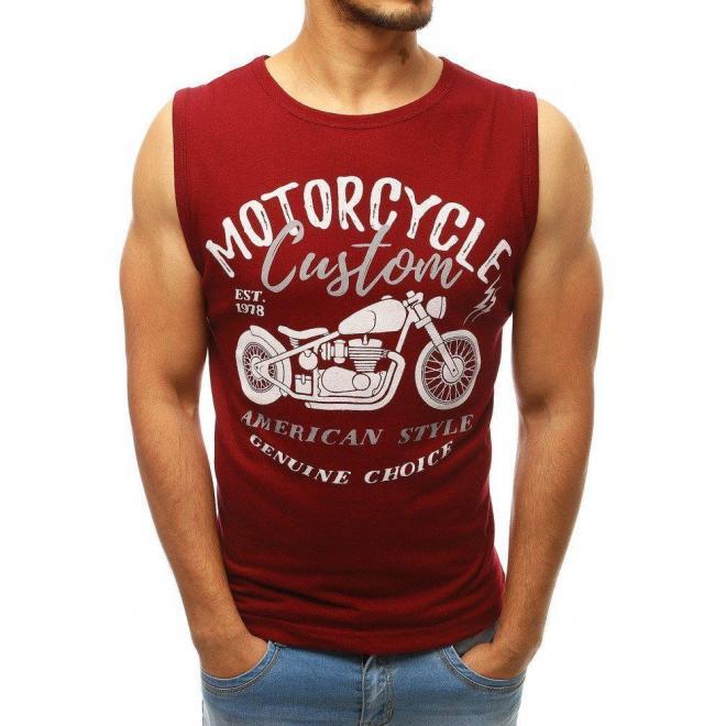 Bordové módne tričko s potlačou pre pánov
