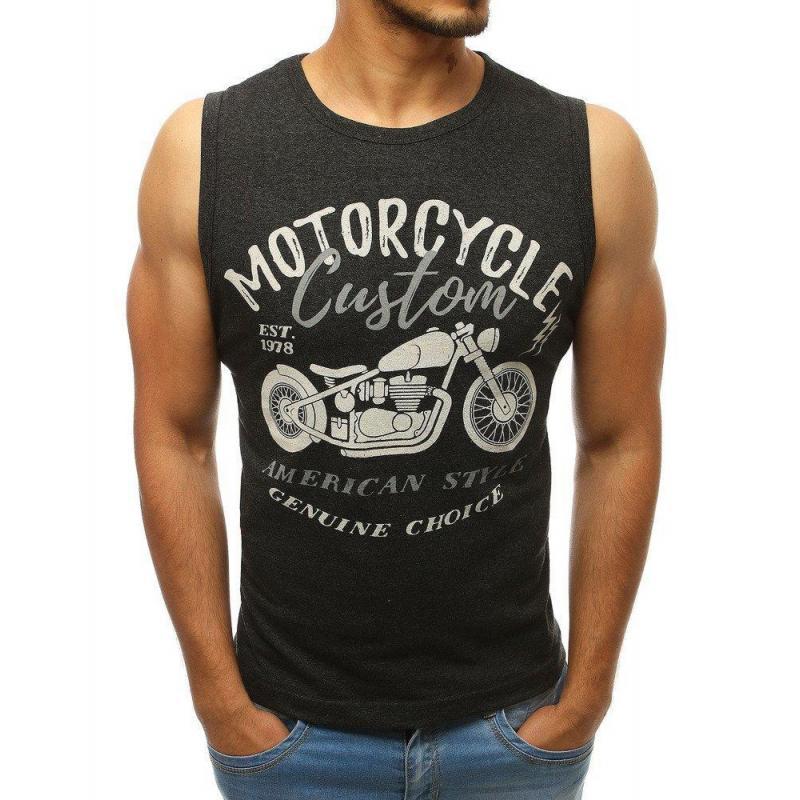 a4128de91 Pánske módne tričko s potlačou v tmavosivej farbe - skvelamoda.sk