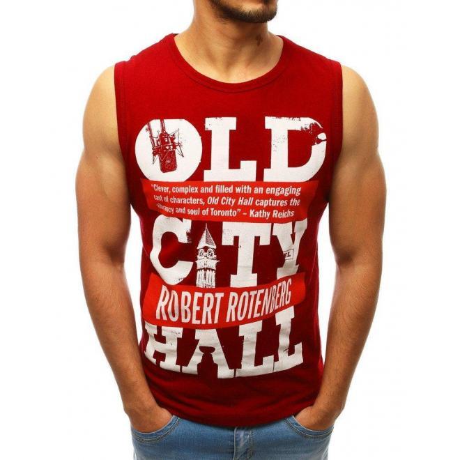 Pánske športové tričko s potlačou v bordovej farbe