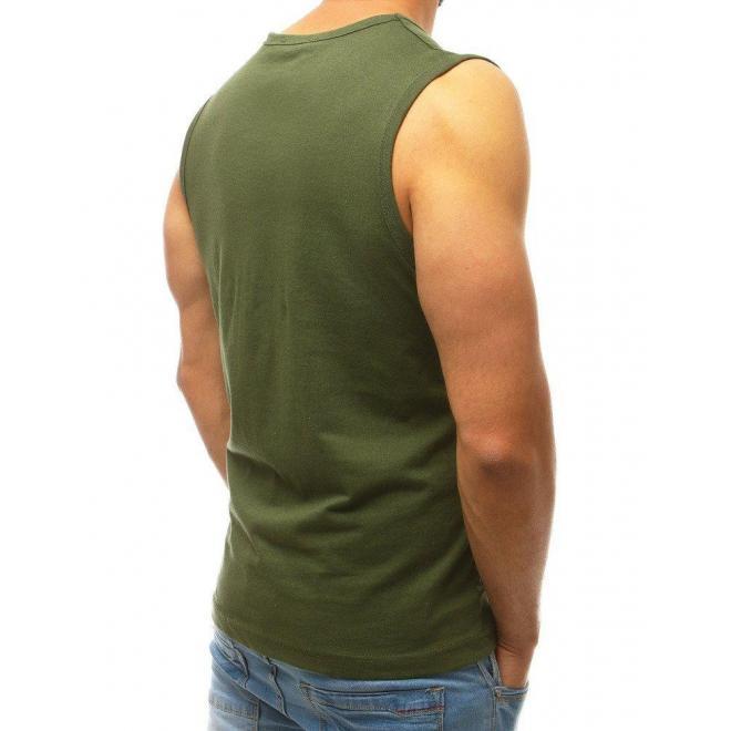 Pánske športové tričko s potlačou v kaki farbe