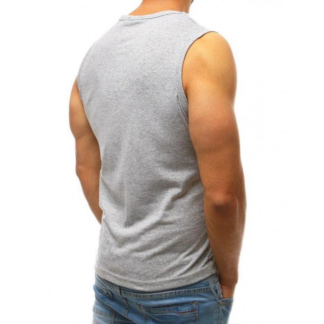 Svetlosivé športové tričko s potlačou pre pánov