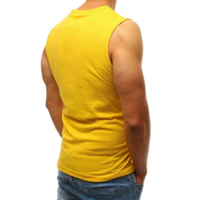 Pánske športové tričko s potlačou v žltej farbe