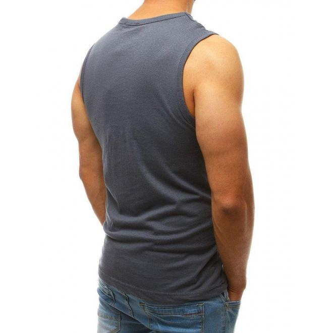 Športové pánske tričko tmavosivej farby s potlačou