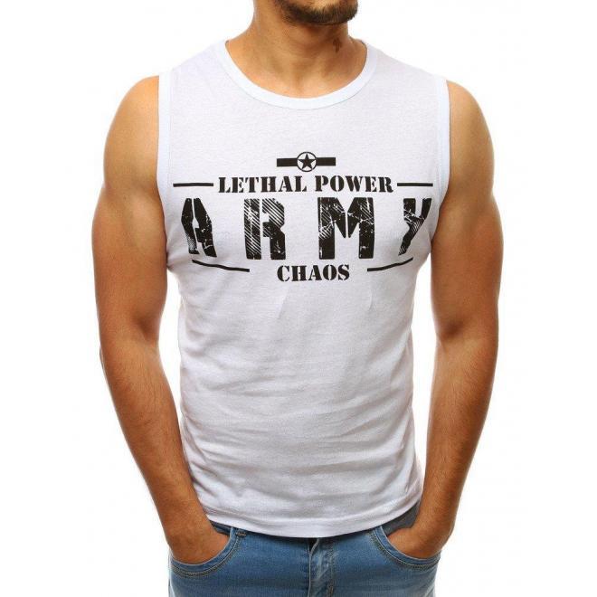 Biele štýlové tričko s potlačou pre pánov