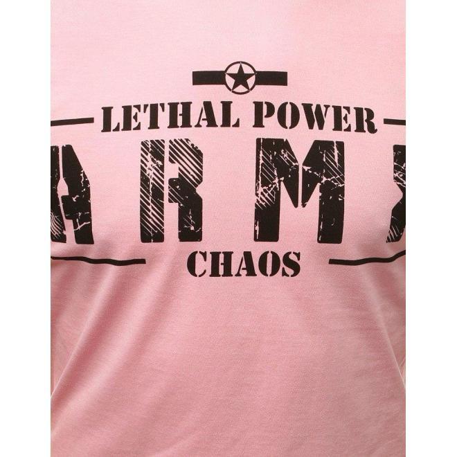 Štýlové pánske tričko ružovej farby s potlačou