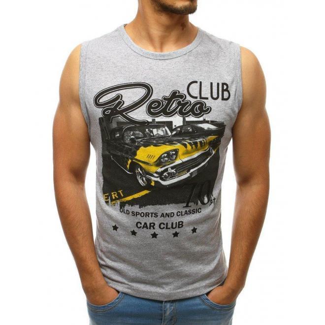 Pánske bavlnené tričko s potlačou v svetlosivej farbe