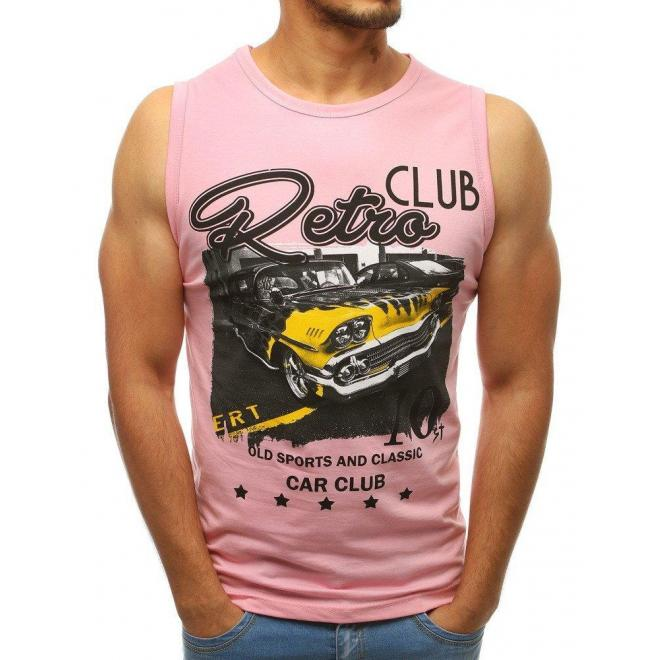 Bavlnené pánske tričko ružovej farby s potlačou
