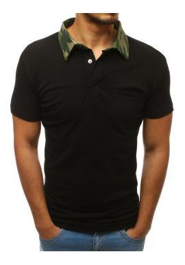 Pánska bavlnená polokošeľa s maskáčovým golierom v čiernej farbe